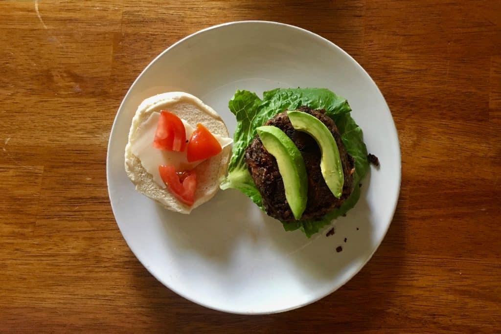 Open Veggie Burger on Plate