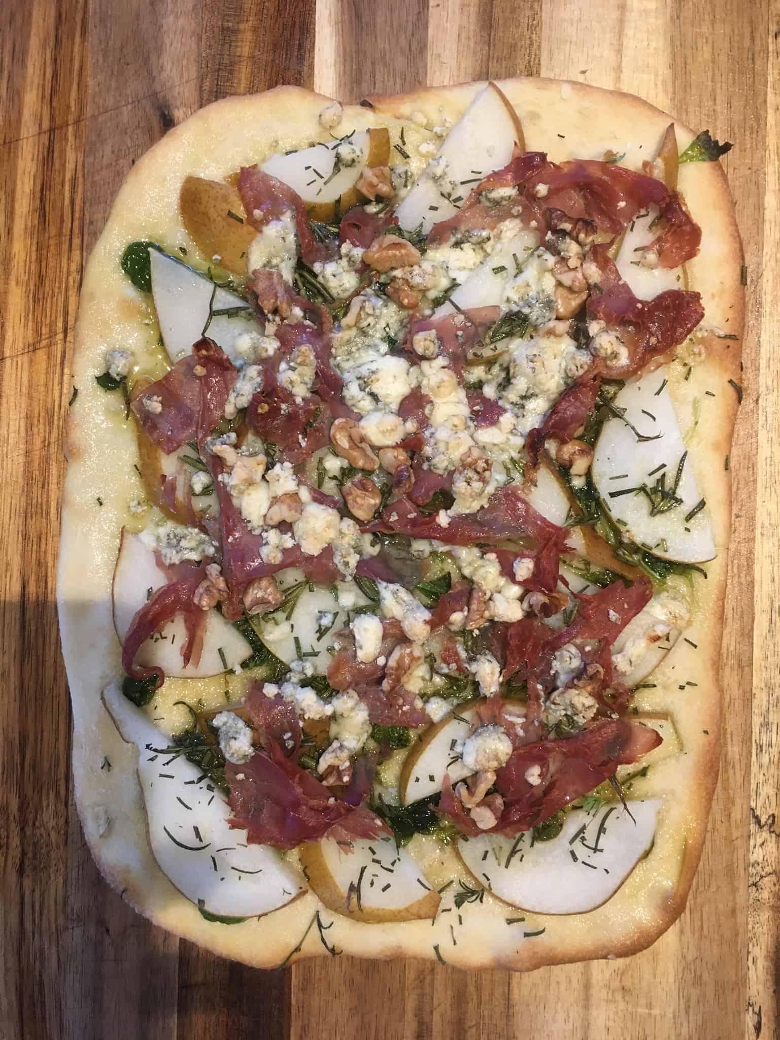 Gluten Free Prosciutto, Pear & Walnut Pizza